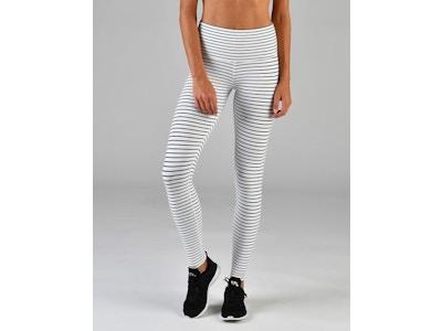 High Power Legging: White & Black Stripe
