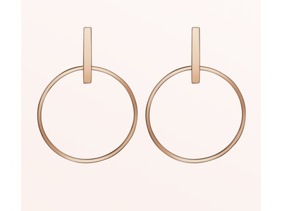 Circle Earrings, Vermeil: Rose