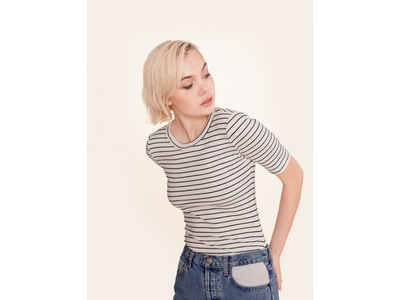 Striped Variegated Rib Top - Ivory/Navy Stripe