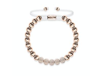 18k Rose Gold | Crystal Pavé Ball Bracelet | White