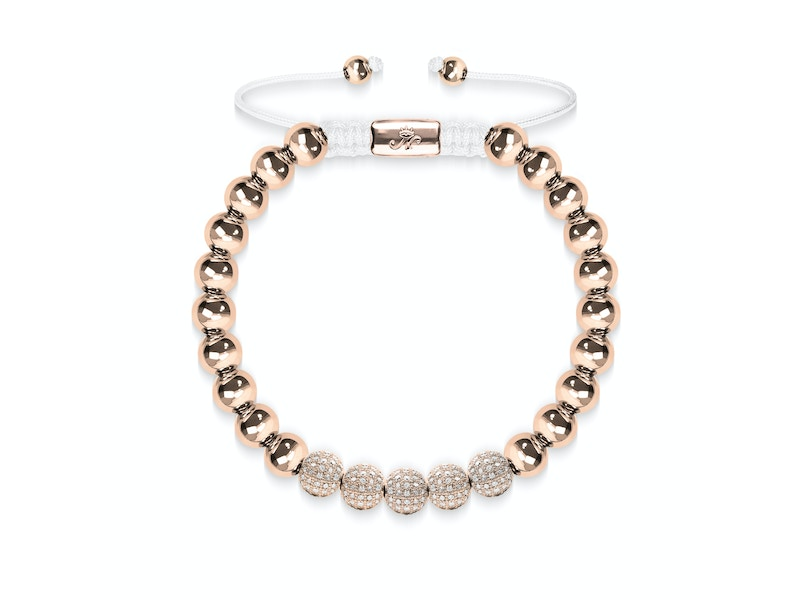 18k Rose Gold | Crystal Pavé Ball Bracelet | White