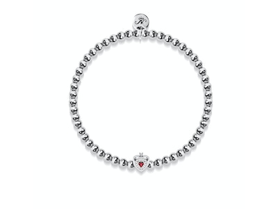 July | Ruby Crystal Birthstone | Silver | Crystal Heart Bracelet
