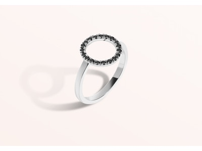 Diamond Circle Ring with Black Diamonds: Size 6