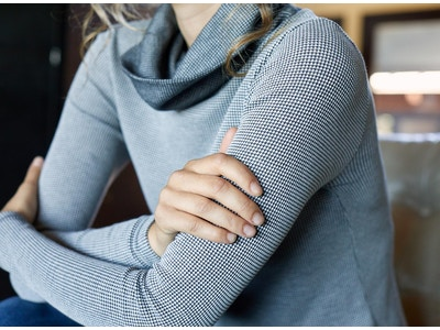 100% Organic Cotton Waffle Cowl Neck Top