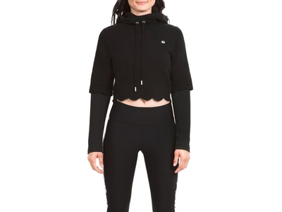Scalloped Crop Combo Hoodie - Color Black - Size Small