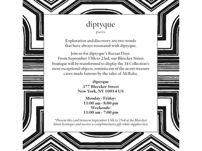 [EVENT] diptyque's Bazaar Days
