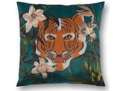 Beatrice, coussin imprimé 45 x 45 cm en velours, tigre et multicolore
