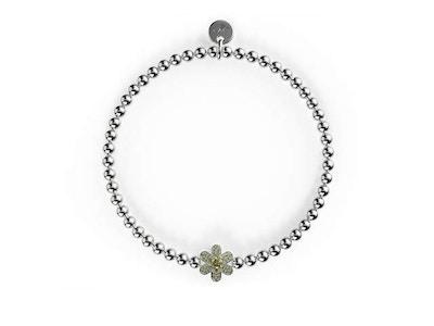 Daffodil | Silver | Yellow Crystal Charm Bracelet