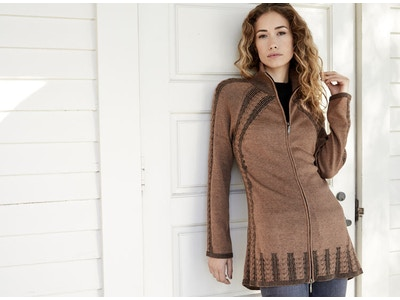 Organic Cable Zip Cardigan Sweater