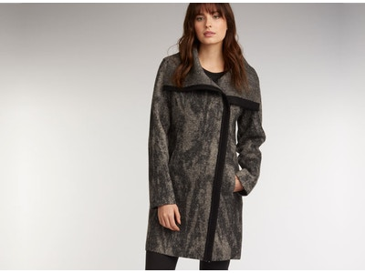 Boiled Wool Side Zip Coat