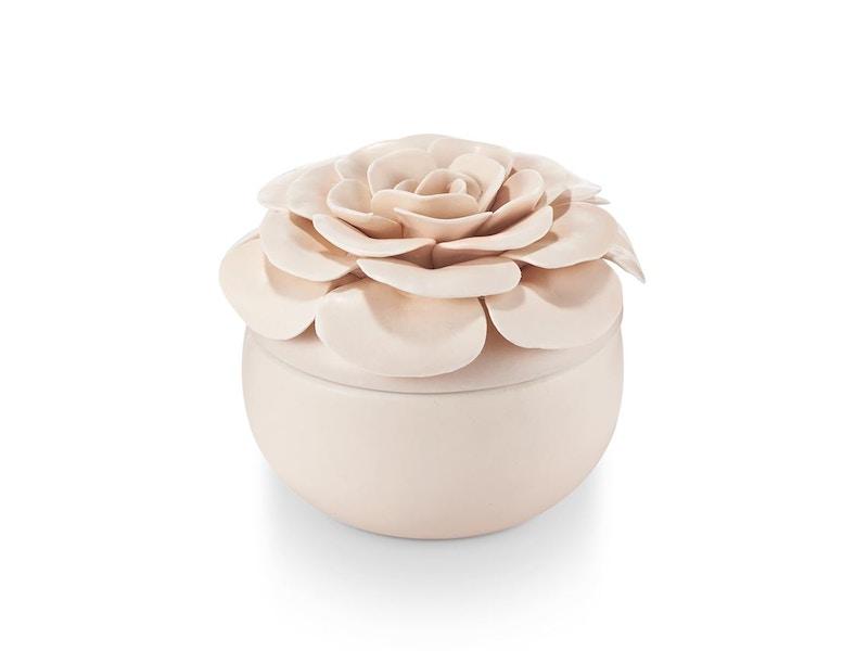 Coconut Milk Mango Ceramic Flower Candle
