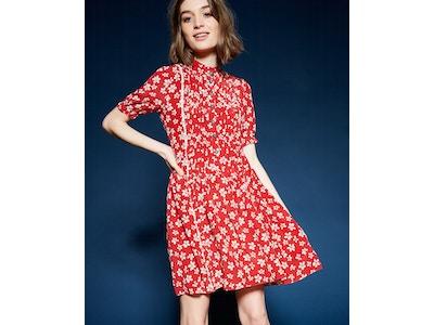 Robe rouge imprimé 60's Flowers