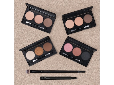 6 Pack Bundle; Four Trio Eyeshadow Palettes, Eyeshadow Brush + Luxe Pen Eyeliner