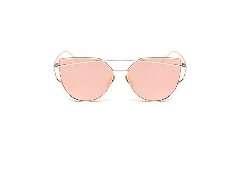 Gold Double Brow Bar Fire Frame Sunglasses